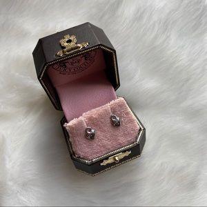 Juicy couture silver heart lock stud earrings